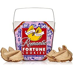 Romantic Gifts Fortune Cookies In A Gift Box - 8 Pieces Traditional Vanilla Flavor Individually Wrapped - Anniversary or Valentines Day Gift - Kosher Certified