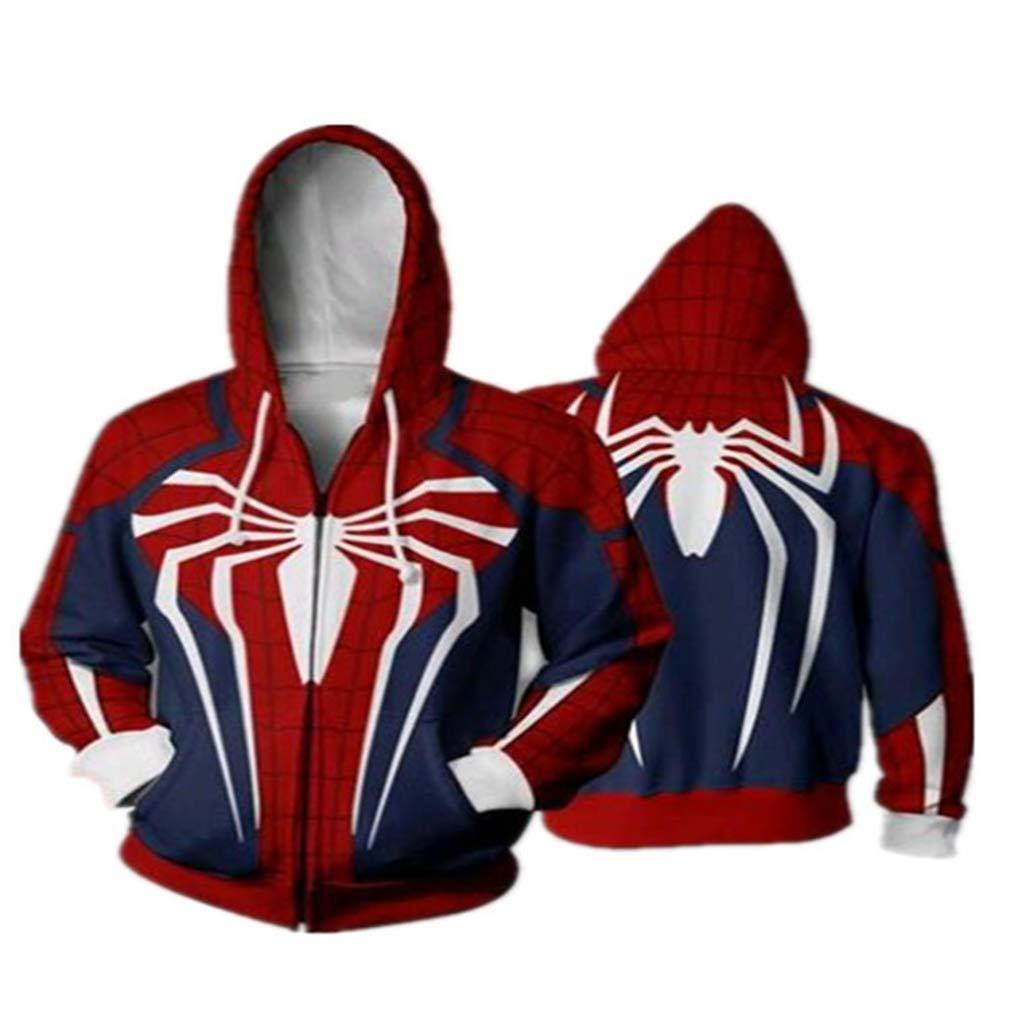 Autumn and Winter New Christmas 3D Digital Printing Return Spider-Man Hooded Zipper Cardigan Sweater