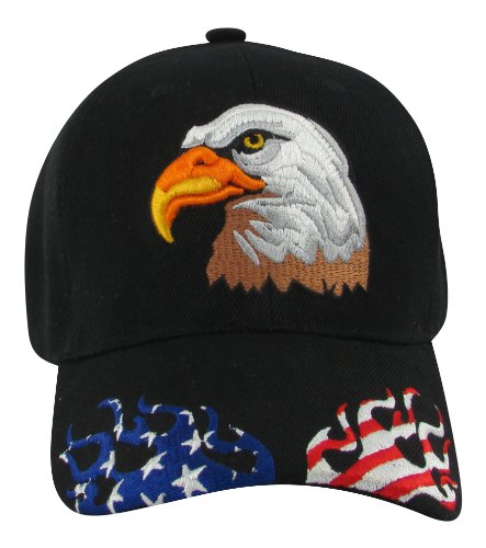 Patriotic Bald Eagle with Red, White & Blue Flames on Visor Baseball Hat - Visor Hat Flame
