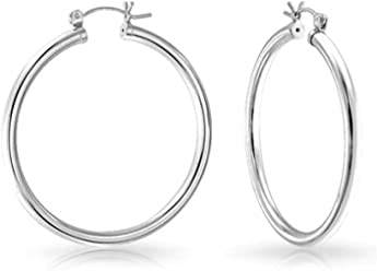 048e275563 Minimalist Round Tube Thin Hoop Earrings for Women High Polish 925 Sterling  Silver 1.5 Inch Dia