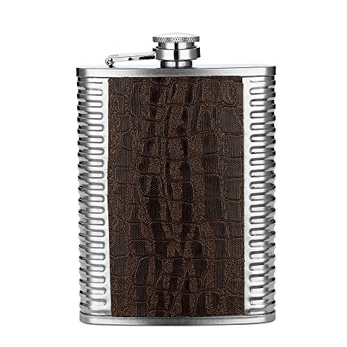 Stainless Steel 8 oz Hip Flask by QLL, Bronze ()