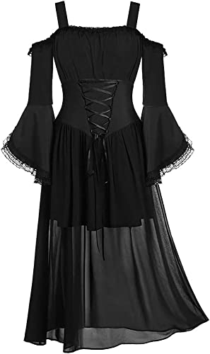 Medieval Costume for Women,Womne Retro Plus Size Cold Shoulder Butterfly Sleeve Lace Up Cocktail Halloween Dress