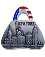 Handbag Shape Metal Clip Magnet New York Landmarks Souvenir Metal Fridge Magnet Statue of Liberty Brooklyn Bridge NYC Skyline NY Chrysler Building US Flag