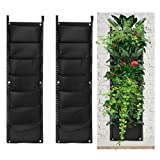 accmor 2 Pack 7 Pocket Hanging Vertical Garden Wall Planter for Indoor Yard Home Decoration