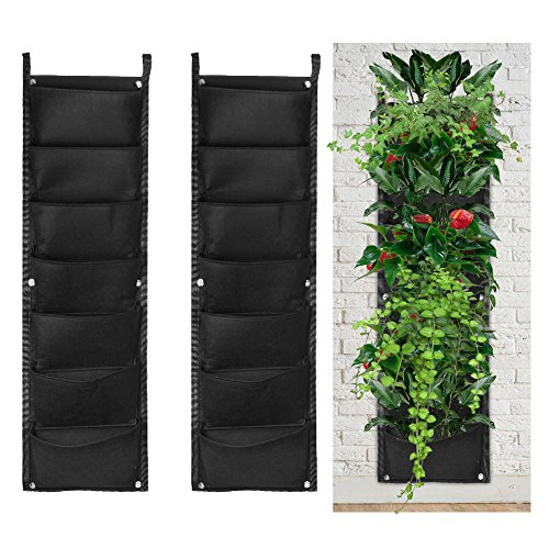 accmor 2 Pack 7 Pocket Hanging Vertical Garden Wall Planter for Indoor Yard Home Decoration by accmor