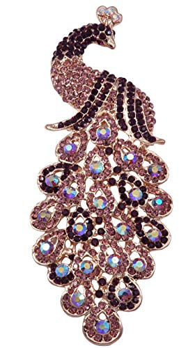 Gyn&Joy Gold-Tone Art Gorgeous Peacock Austrian Crystal Rhinestone Brooch Pins 5 Inch BZ055 (Purple)