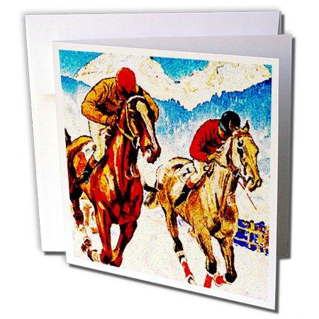 3dRose Set of 12 Greeting Cards, Close Horse Race Artwork (gc_183350_2) ()