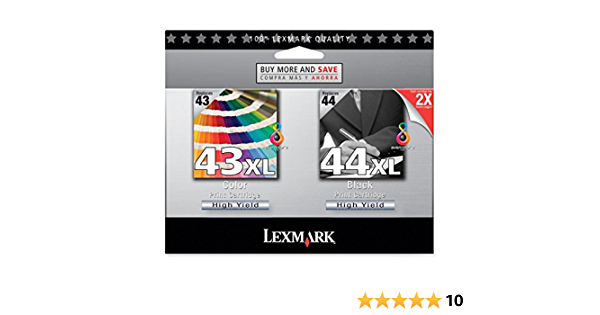 2 // Pack 43//44 Twin Pack High Yield Black and Color Ink Cartridge Inkjet 18Y0372 Lexmark No Color Assorted