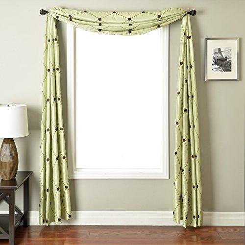 Softline Home Fashions REMchoplgrnSC Millau 6 Yard Window Scarf Chocolate Green (6 Yard Window Scarf Valance)