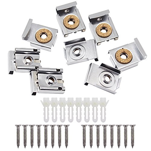 SelfTek 8 Pieces Bathroom Mirror Hanger Clips Set with Screws,Rawl Plugs and Extra Free 8 Pcs - To Remove Can Scratches Polished Be Glass