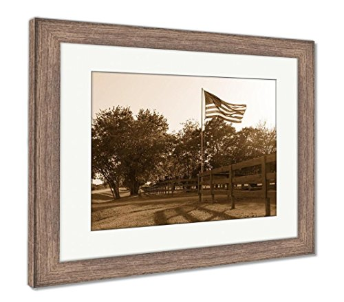 Ashley Framed Prints American Flag In The Yard Of A House On