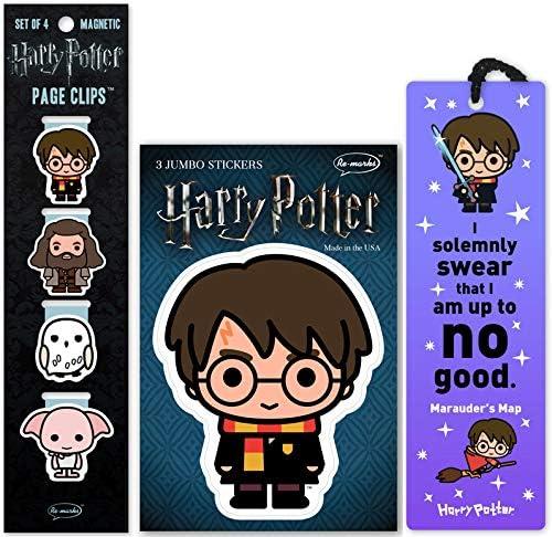 Set de señaladores de libros y stickers de harry potter