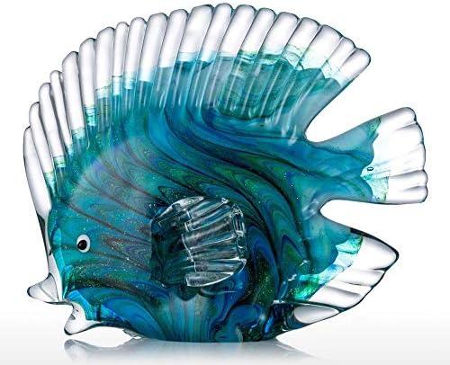 Estatuas Decorativas de vidrio azul peces tropicales decoración del hogar arte 3