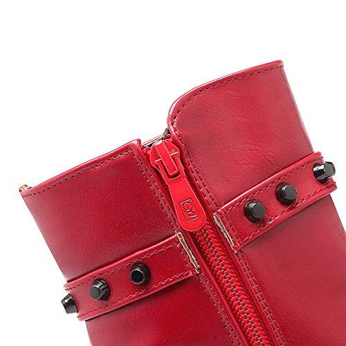 AllhqFashion Mujeres Tacón ancho Sólido Cremallera Puntera Redonda Botas con Tachuelas Rojo