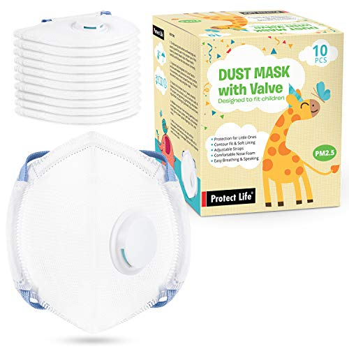 Dust Mask for Kids - 10 pack - Small Size Disposable Masks w/Exhalation Valve | Protection from dust, pollution, allergens, pollen, pet hair]()