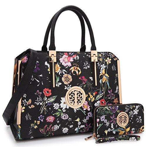 MMK collection Women Fashion Pad-lock Satchel handbags with wallet(2553)~Designer Purse for Women ~Multi Pocket ~ Beautiful Designer Handbag - Handbag Kelly Bag