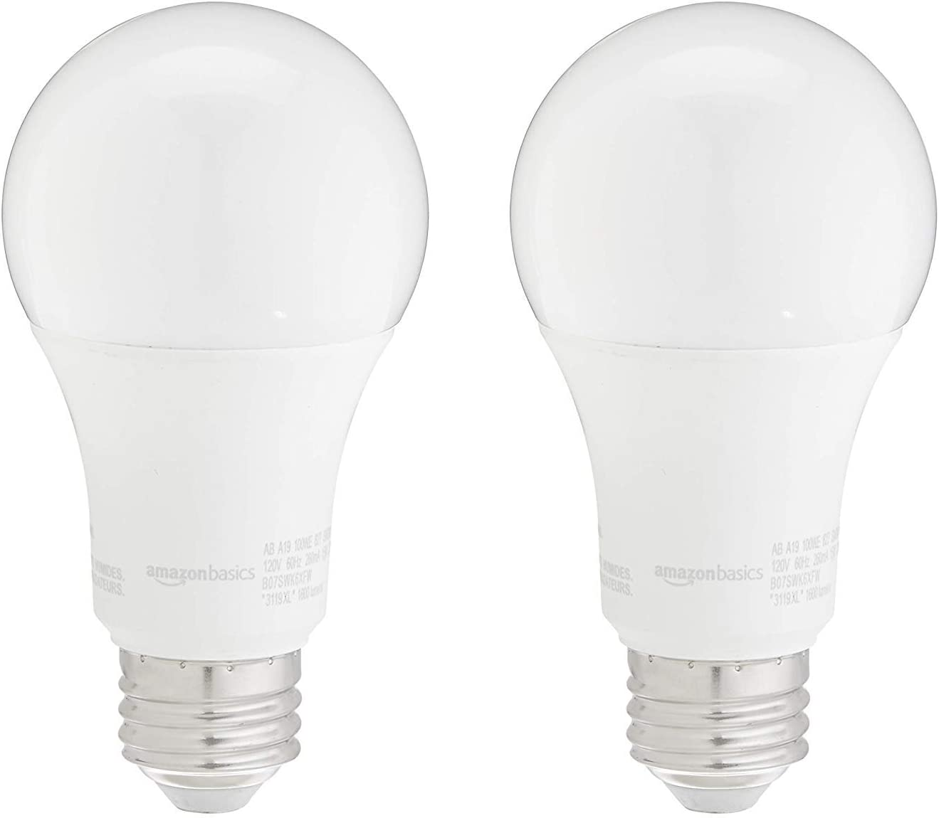 AmazonBasics 100W Equivalent, Soft White, Non-Dimmable, 10,000 Hour Lifetime, A19 LED Light Bulb | 2-Pack