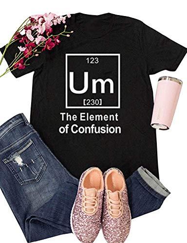 Women Plus Size Short Sleeve Um Element Confusion Tops Funny Cute Junior Teen T Shirt Black M