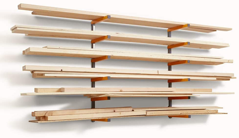Bora Wood Organizer and Lumber Storage Metal Rack with 6-Level Wall Mount – Indoor and Outdoor Use, In Orange | PBR-001 - -