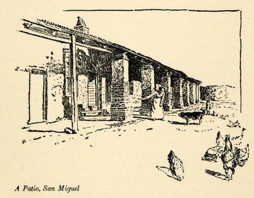 Cheap  1910 Print Historic San Miguel Spanish Mission Patio California Peixotto Art -..