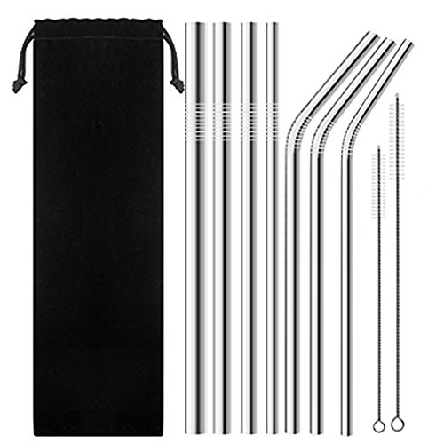 """SENHAI 7 Pack Stainless Steel Wide Drinking Straws, 9.9"""" and 10.5"""" Long, Metal Reusable Straws for Smoothie Cold Beverage - (0.24"""", 0.31"""", 0.35"""", 0.47"""" diameter)"""
