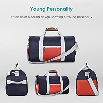 REYLEO Small Duffle Bag Men Women, Nylon Sports Gym Bag - Water Resistant With Leather Handle, Weekender Tote Folding For Short Trip