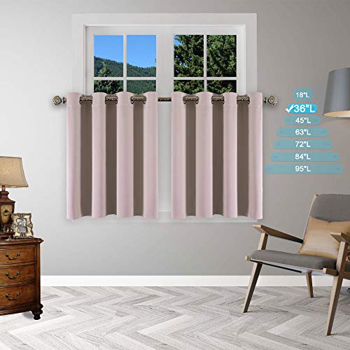 - YGO Window Curtain Valances - 36 inch Long Blackout Tiers Thermal Drapes Microfiber Fabric Light Block Energy Saving for Bedroom Home Decor, 52 x 36 in, Light Khaki, Set of 2 Panels