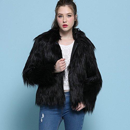 Fourrure Noir Veste de Court Faux Manteau Parka Outerwear Womens Winter Faux b Lady Manteau Fox Chaud de Fourrure GreatestPAK qCxw1pET