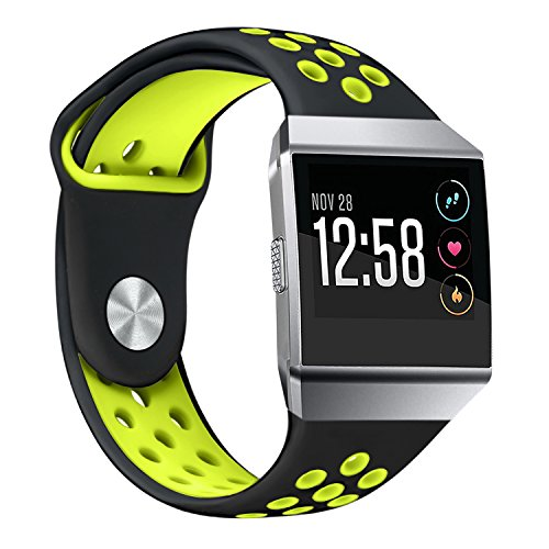 bayite Soft Silicone Sport Bands Compatible Fitbit Ionic Replacement Band Perforated Breathable Accessories Wristband Women Men Black/Fluorescent Yellow