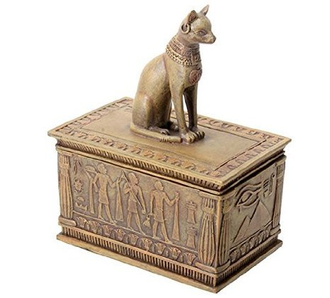 Sandstone Colored Bastet Box with Egyptian Detailed Bottom Design - Antico Di Trinket