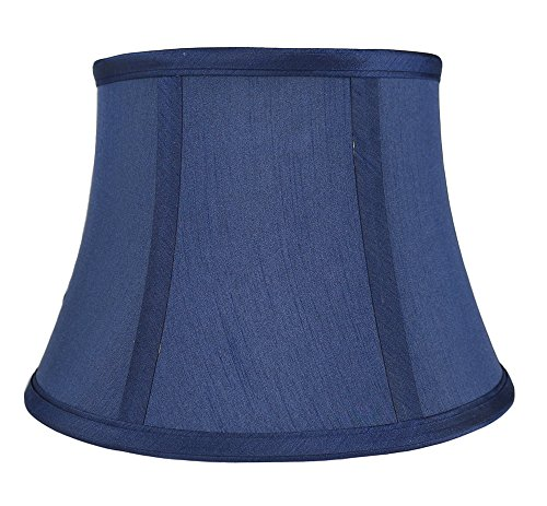 Urbanest Softback 7-inch by 10-inch by 7-inch Faux Silk Bell Lamp Shade, Navy Blue, Spider Washer Fitter
