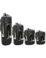 Foto&Tech 4 PCS 5MM Extra Thick Waterproof Lens Bag Neoprene Flannel Collar Drawstring Swivel Clip Compatible with Canon Nikon Sony Olympus (S M L XL)
