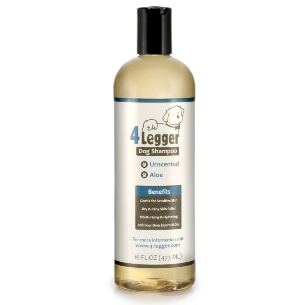 4Legger Certified Organic Hypoallergenic All Natural Aloe Dog Shampoo - Unscented - Gentle Moisturizing - Conditioning for Soothing Relief of Dry, Itchy, Sensitive Allergy Skin - Made in USA - 16 oz