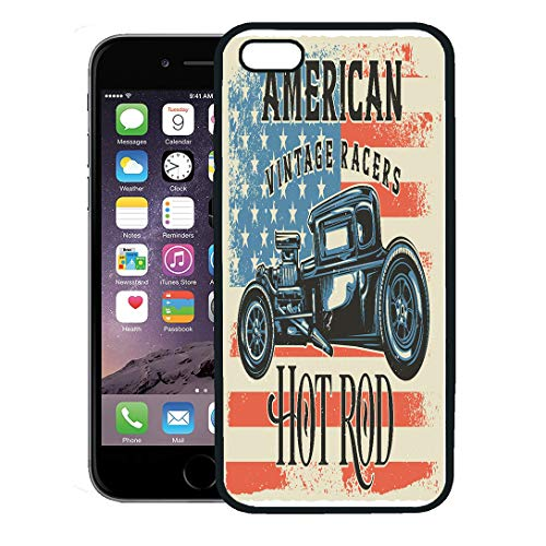 Semtomn Phone Case for iPhone 8 Plus case Cover,American of Hot Rod Raster Copy Antique Auto Automotive Burning Car,Rubber Border Protective - Roadster Engine Fire