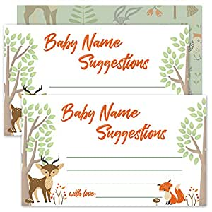 50 Woodland Creature Name Suggestion Cards for Baby Shower, Baby Shower Name Suggestion Cards, Name Suggestion Game, Baby Shower Games, Baby Party Supplies, 3.5 x 2 Inches