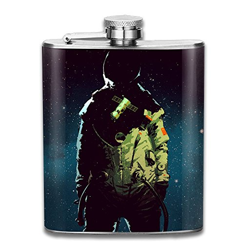 WUGOU Stainless Steel Hip Flask 7 Oz (No Funnel) Astronaut Cool Full Printed