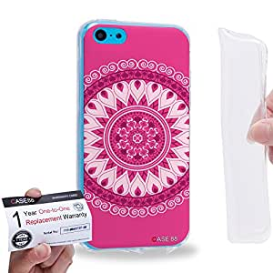 Case88 [Apple iPhone 5C] Gel TPU Carcasa/Funda & Tarjeta de garantía - Art Fashion Magenta Parade Mandala Cross 0791