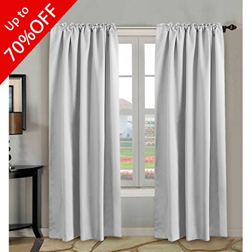 H.VERSAILTEX White Curtains Room Darkening Thermal Insulated Drapes for Bedroom Living Room, 52x84 inch, Back Tab/Rod Pocket - Set of 2 Panels, Greyish White Thermal Back Drapes