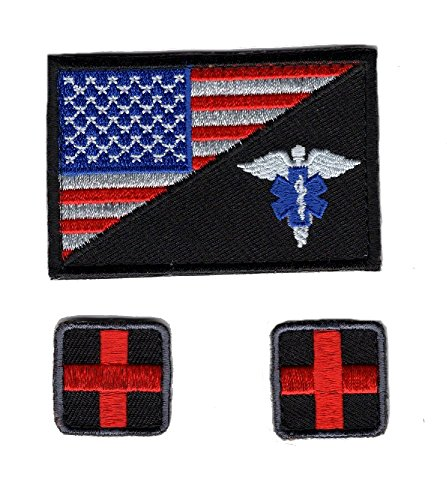 EMT USA Flag Medic Cross Tactical Hook Patch 3pcs Bundle by Miltacusa