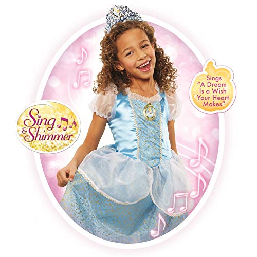 Disney Princess Cinderella Dress Costume, Sing & Shimmer Musical Sparkling Dress, Sing-A-Long to