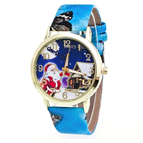 AMA(TM) Men Women Christmas Santa Claus Pattern Leather Band Analog Quartz Vogue Wrist Watch (Blue)