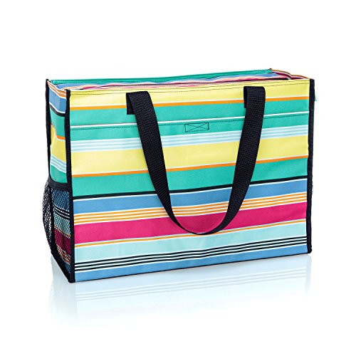 Thirty One Deluxe Organizing Utility Tote Zip Top in Patio Pop - No Monogram - 8800
