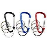 Mini Style Aluminum Alloy D Ring Shape Buckle with Key Ring Connectors, Mini Carabiner Style Keychain (Blue+Red +Black, 3pcs)