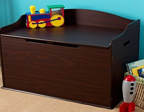 Toy Box, Espresso, Functional , Safety Hinge on Lid Protects Young Fingers from Getting Pinched, Made of Wood, Doubles as a Bench for Additional Seating, Bundle with Expert Guide for Better Life