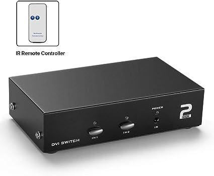 DVI 2 Port 2:1 Manual Switcher Selector Switch Box TV LCD Monitor single mode