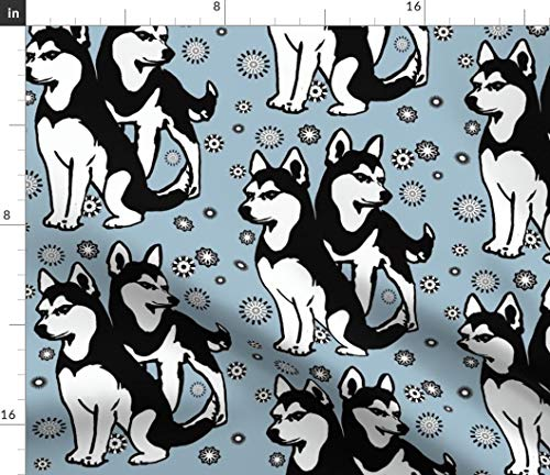 Spoonflower Dog Fabric - Siberian Husky Animals by Dogdaze Printed on Kona Cotton Ultra Fabric by The Yard