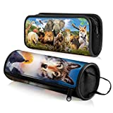 CEIEC3D 3D Pencil Case Cosmetic Bag Students Stationery Pouch Zipper Bag for Back to School Set of 2 Animals Series