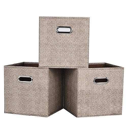 Ikebana Set of 3 Durable Foldable Storage Cubes, Cloth Storage Basket Bins Fabric Drawers With Dual Metal Handles For Shelf, Closet, Cabinet by Ikebana