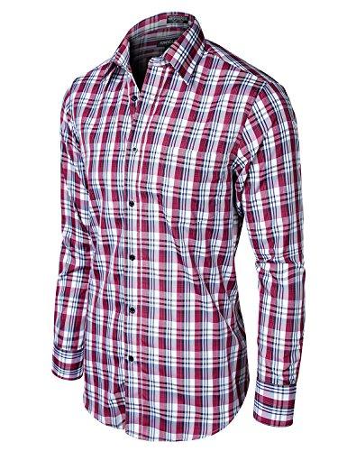 Stylish Plaid Checkered Long Sleeve Dress Shirts Burgundy_White - Sale Zegna Sport