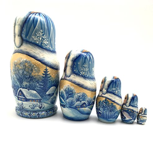 Unique One of the Kind Russian Nesting dolls ''Snow girl'' Hand Carved Hand Painted 5 piece set by BuyRussianGifts (Image #2)